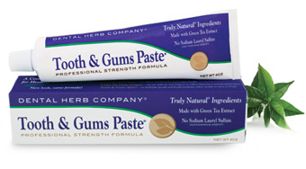 tooth and gums paste toothpaste on top of its box