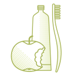 apple toothpaste toothbrush icon