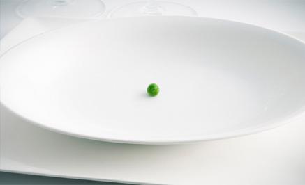 pea on a dinner plate